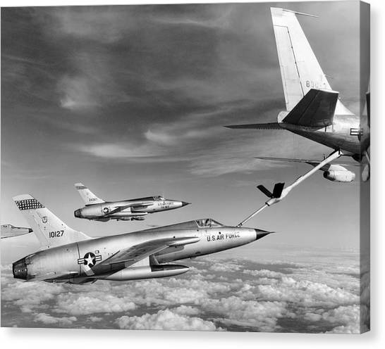 Vietnam War Canvas Print - F-105s Refueling In The Air by Underwood Archives