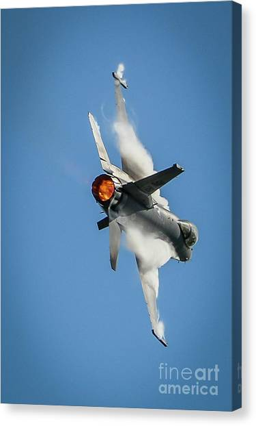 Canvas Print featuring the photograph F-16 Banks Right by Tom Claud