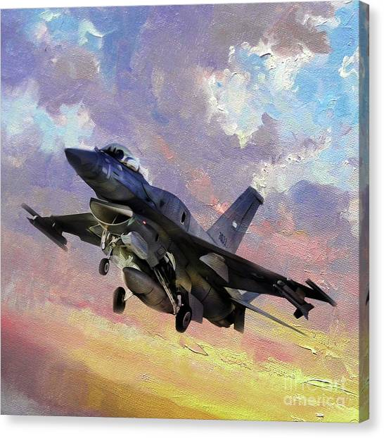 F16 Canvas Print - F 16 Fighting Falcon 011v by Gull G
