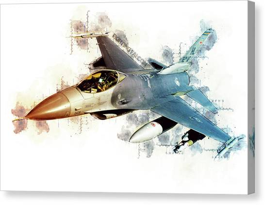 F16 Canvas Print - F-16 Fighting Falcon Tech by J Biggadike