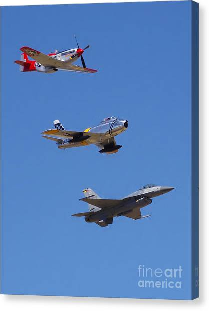 F-16 P-51d F-86 Heritage Flight- Flyby Canvas Print