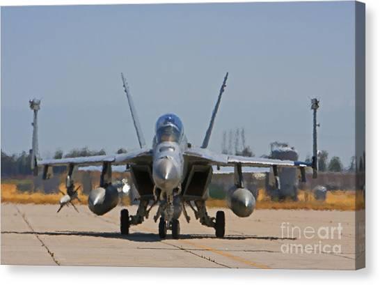 Missles Canvas Print - F 18  Jet On The Tarmac by Mark Hendrickson