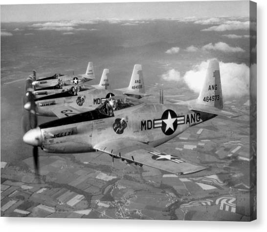 National Guard Canvas Print - F-51h Mustang Formation - 1952 by War Is Hell Store