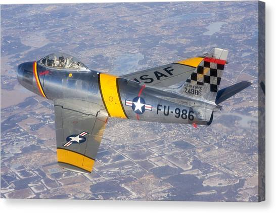 F-86 Sabre Flying 1 Canvas Print