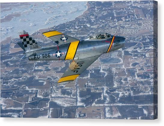 F-86 Sabre Flying 2 Canvas Print