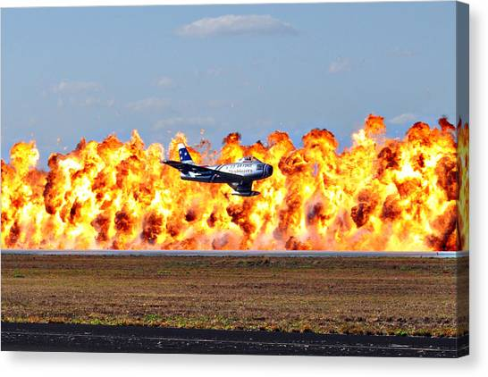 F-86 Wall Of Fire Canvas Print by Mark Weaver