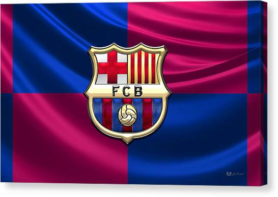 Barcelona Canvas Print - F. C. Barcelona - 3d Badge Over Flag by Serge Averbukh