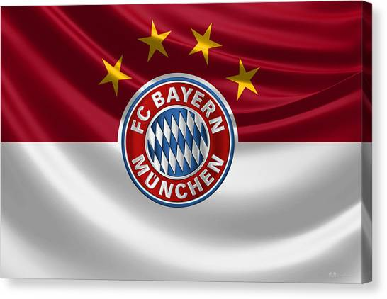 Fc Bayern Munich Canvas Print - F C Bayern Munich - 3 D Badge Over Flag by Serge Averbukh