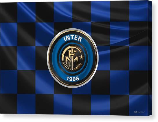Inter Milan Canvas Print - F. C. Inter Milan - 3 D Badge Over Flag by Serge Averbukh