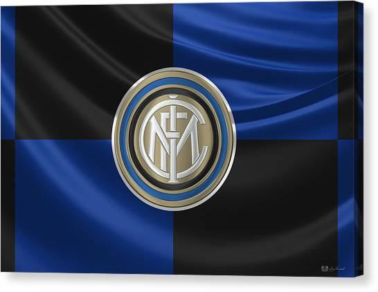 Inter Milan Canvas Print - F. C. Inter Milan - New 3 D Badge Over Flag by Serge Averbukh