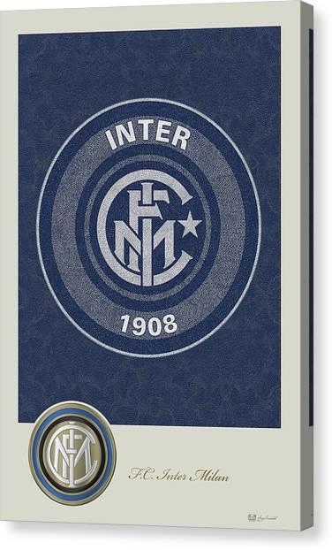 Inter Milan Canvas Print - F. C. Inter Milan - New 3 D Badge Over Vintage Logo by Serge Averbukh
