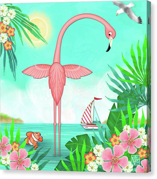 F Is For Flamingo Canvas Print