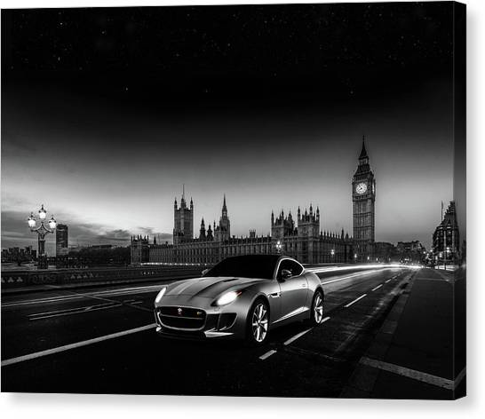 London Canvas Print - F-type In London by Mark Rogan