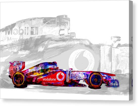 Daytona 500 Canvas Print - F1 Race Car Digital Painting by David Haskett II