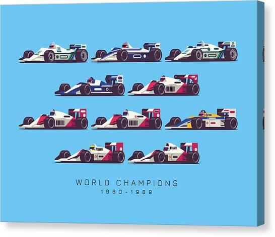 Formula 1 Canvas Print - F1 World Champions 1980s - Blue by Ivan Krpan