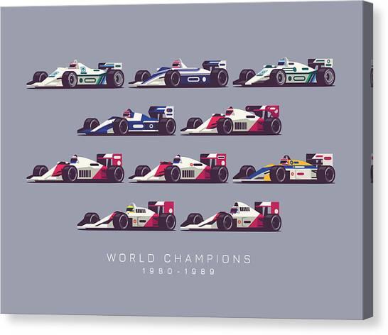 Formula 1 Canvas Print - F1 World Champions 1980s - Dark Grey by Ivan Krpan