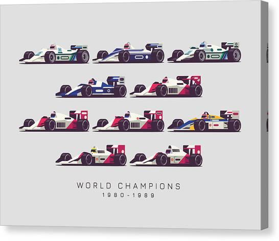 Formula 1 Canvas Print - F1 World Champions 1980s - Light Grey by Ivan Krpan