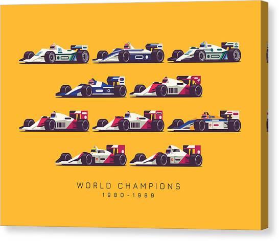 Formula 1 Canvas Print - F1 World Champions 1980s - Yellow by Ivan Krpan
