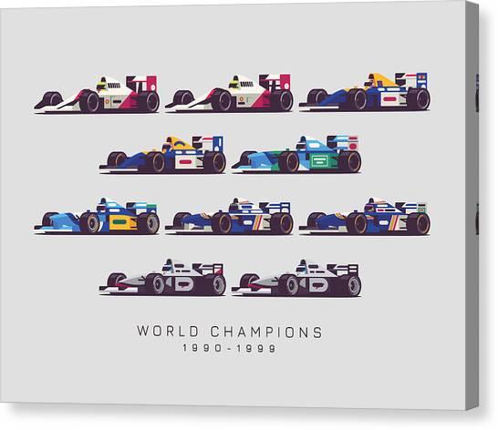 Formula 1 Canvas Print - F1 World Champions 1990s - Light Grey by Ivan Krpan