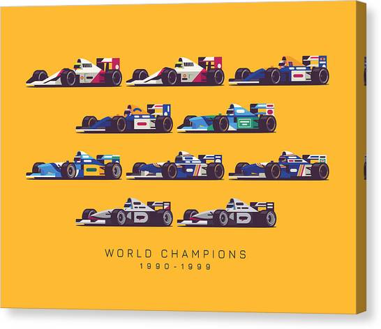 Formula 1 Canvas Print - F1 World Champions 1990s - Yellow by Ivan Krpan