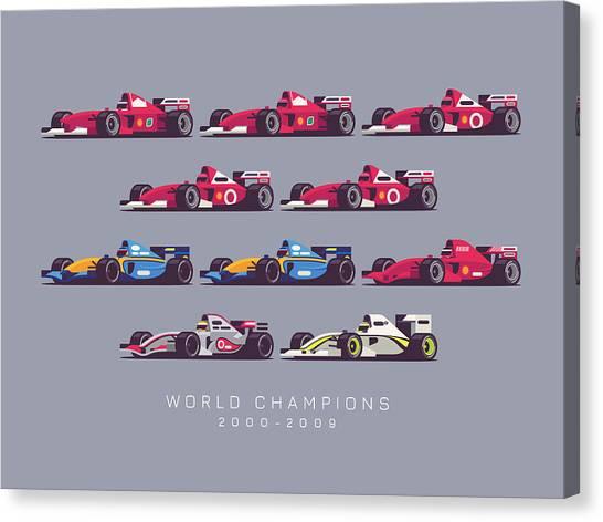 Formula 1 Canvas Print - F1 World Champions 2000s - Dark Grey by Ivan Krpan