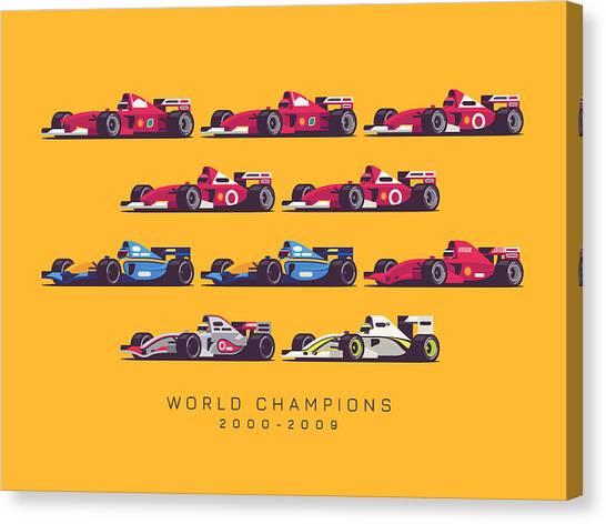Formula 1 Canvas Print - F1 World Champions 2000s - Yellow by Ivan Krpan