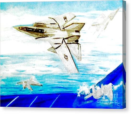 F14 And Carrier Canvas Print