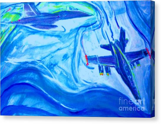 F18 Fighter Aircrafts In Flight Canvas Print