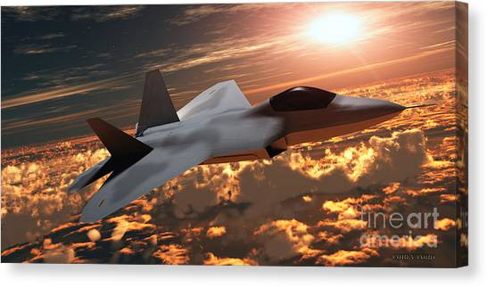 Nato Canvas Print - F22 Fighter Jet At Sunset by Corey Ford