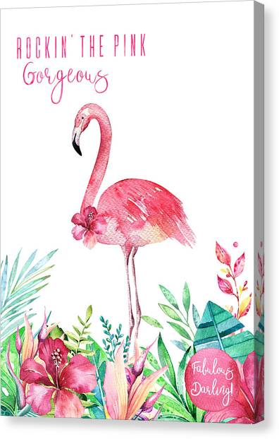 Canvas Print - Fabulous Flamingo - Rockin' The Pink by Amanda Lakey