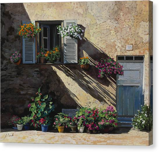 Blue Doors Canvas Print - Facciata In Ombra by Guido Borelli