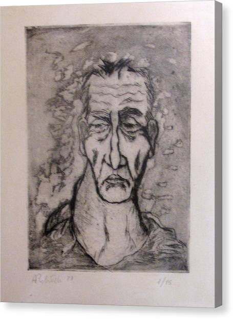 Face Marked By Fatigue Canvas Print by Alfonso Robustelli