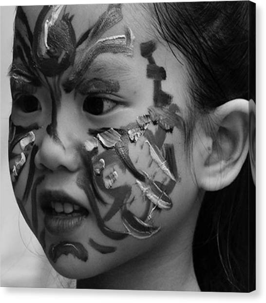 Vietnamese Canvas Print - Face Painted Girl From Hanoi Creative by Jesper Staunstrup