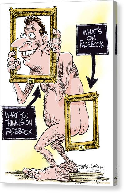 Canvas Print featuring the drawing Facebook Privacy by Daryl Cagle