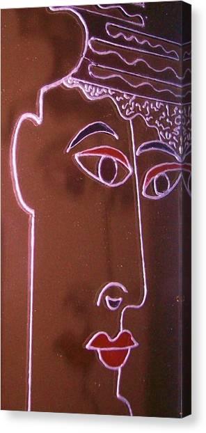 Faces And Alphabets Canvas Print by Sylvia Hanna Dahdal
