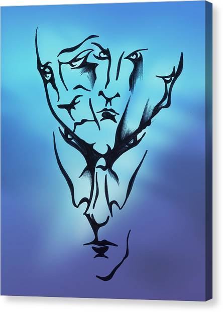 Canvas Print featuring the drawing Faces by Keith A Link
