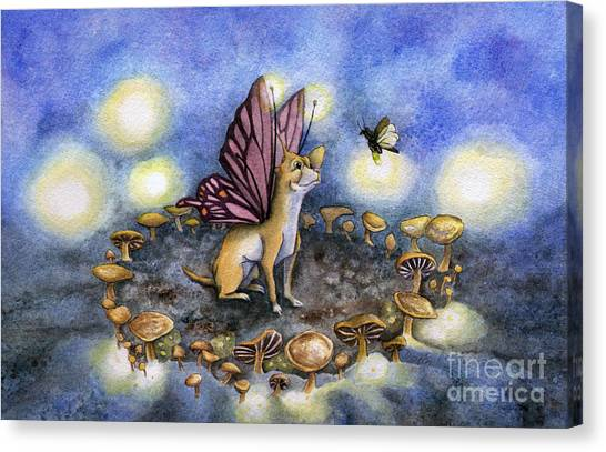 Lightning Canvas Print - Faerie Dog Meets In The Faerie Circle by Antony Galbraith