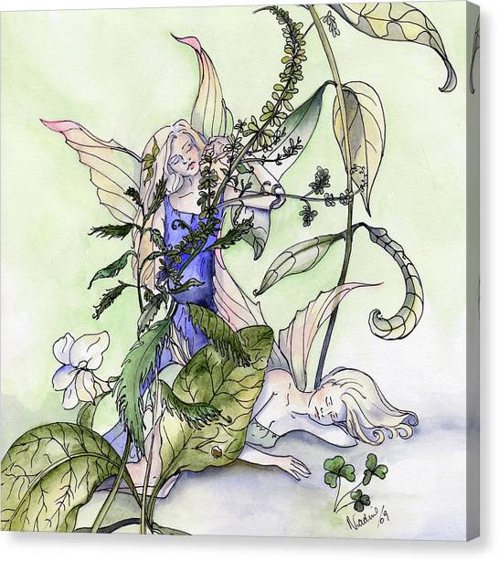 Faeries In The Garden Canvas Print