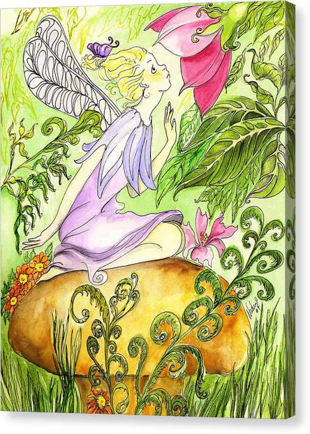 Faery On A Mushroom Canvas Print