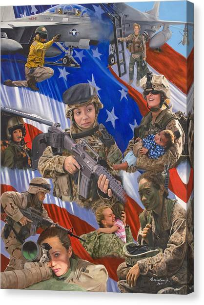 American Flag Canvas Print - Fair Faces Of Courage by Karen Wilson