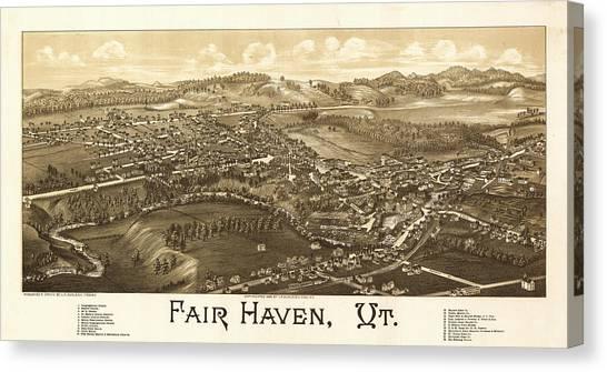Rutland Canvas Print - Antique Fair Haven, Vt. by Burleigh Litho