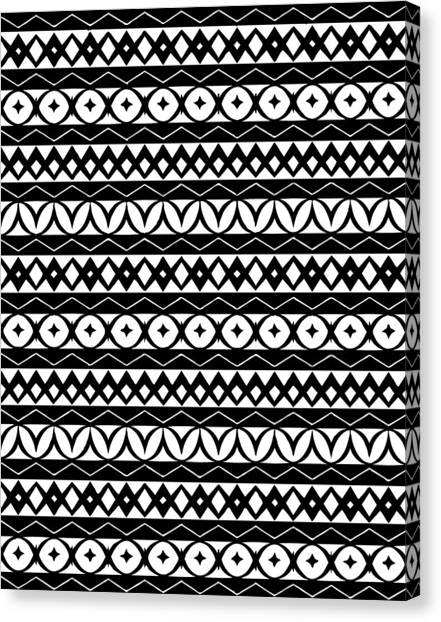 Black And White Canvas Print - Fair Isle Black And White by Rachel Follett
