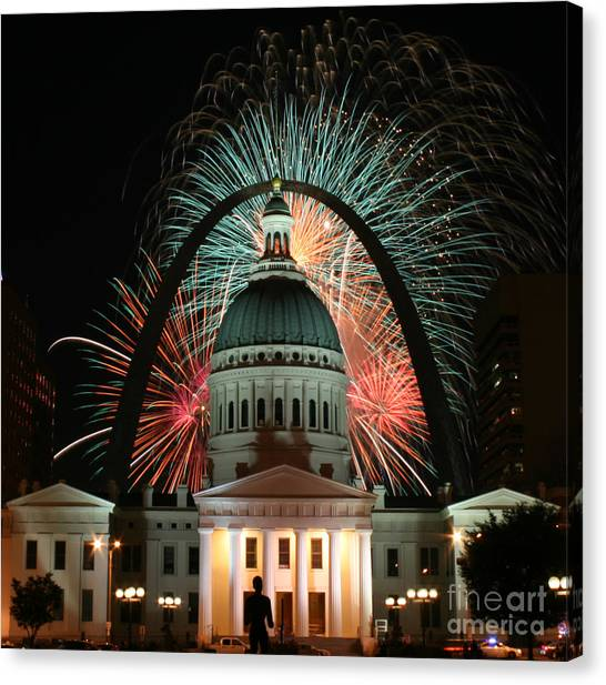 Fair St Louis Fireworks Canvas Print by William Shermer