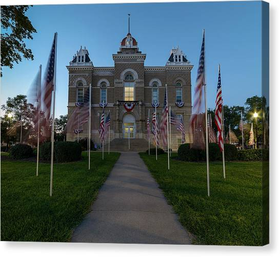 Fairbury Nebraska Avenue Of Flags - September 11 2016 Canvas Print