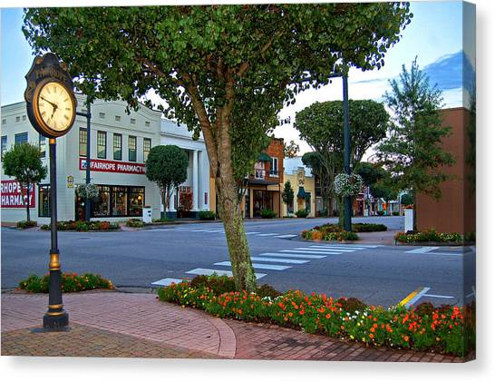 Fairhope Ave With Clock Canvas Print