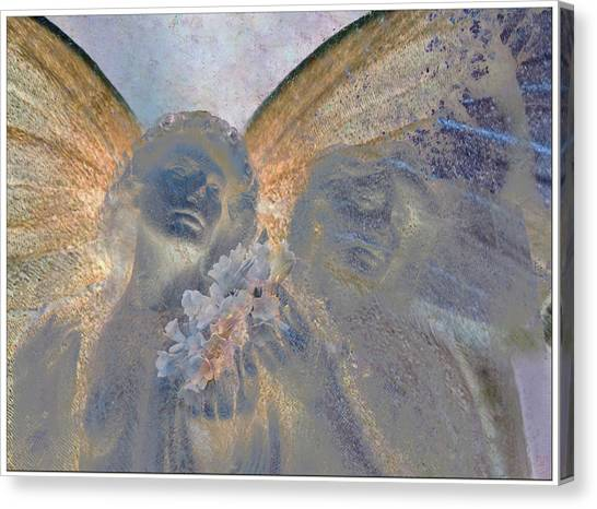 Fairies With White Flowers Canvas Print by Heike Schenk-Arena