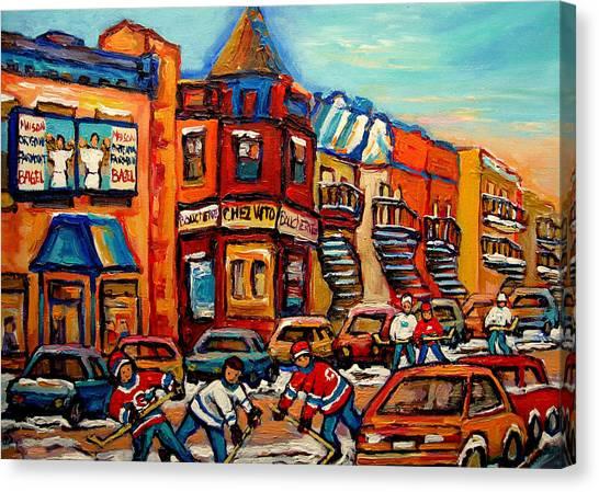 China Town Canvas Print - Fairmount Bagel With Hockey by Carole Spandau