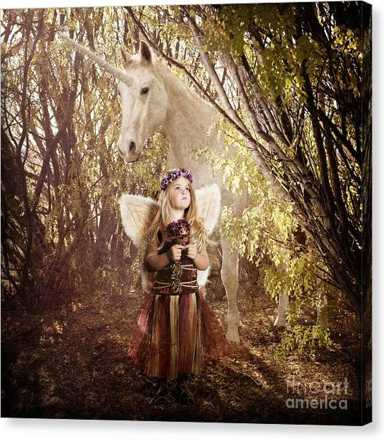 Fairy And Unicorn Canvas Print