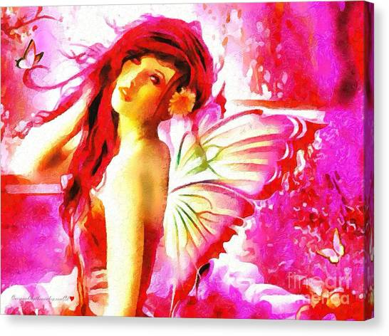 Fairy Angel In The Mix In Thick Paint Canvas Print