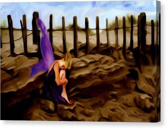 Fairy Sleeping On The Dunes Canvas Print by Shelley Bain